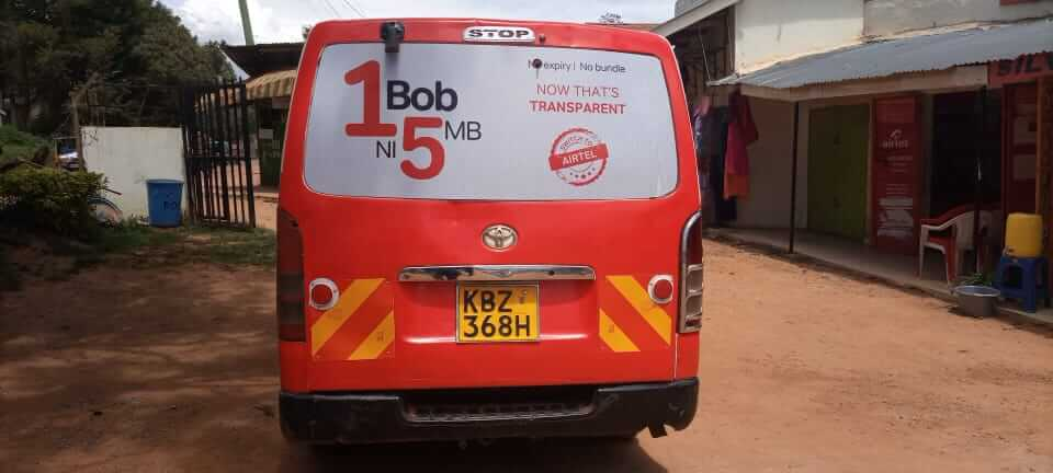 Airtel Kenya Contracts Admedia Communications In The Branding of Vans for the Switch to Airtel Campaign (1BOB NI 5MB, CALL FOR 2.3 BOB PER MINUTE TO ALL NETWORKS, and UPGRADE YOUR SIM CARD AND ENJOY 2GB FREE)